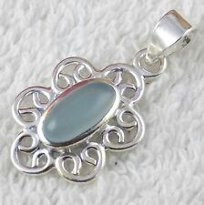 Natural Seafoam Chalcedony Oval Cabochon Gemstone 925 Sterling Silver Pendent
