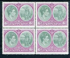 St Kitts Nevis 1938-50 6d green and purple fresh MNH block of 4 SG74c