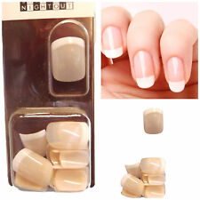 24x SHORT FALSE FRENCH MANICURE FULL COVER SHEER PINK NAILS FREE UK P&P UKSELLER