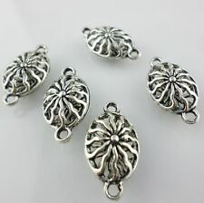 8/60pcs Tibetan Silver Filigree Hollow Oval Charms Bails Connectors DIY Jewelry