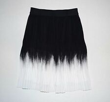New White House Black Market Women's Pleated Ombre Black White Skirt 0 2 4 6