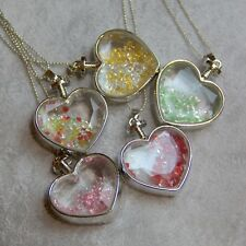 Rhinestones In Silver Plated Heart Glass Pendant Necklace