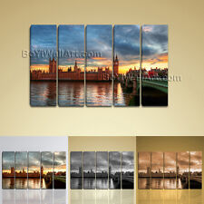 Large Wall Art HD Print On Canvas London Cityscape Sunset Glow Contemporary