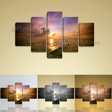 Huge Seascape Contemporary Wall Art Sunset Glow Picture HD Print On Canvas