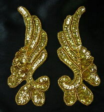 LR17-3 Mirror Pair Floral Sequined Beaded Applique Gold Dancewear/Belly Dance