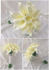 Artificial Wedding Flowers Calla Lily Bridal Bride Bouquet Posy White Ivory