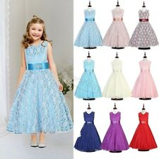 Flower Girl Lace Princess Dress Kids Party Pageant Wedding Bridesmaid Tutu Dress