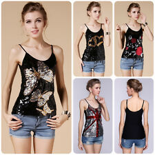 Women Lady Sexy Sequin Sleeveless T-shirt Tank Tops Vest Casual Camisole Blouse