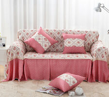 Pink Floral Cotton Blend Lace SlipCover Sofa Cover OAUL Protector for 1 2 3 4 se
