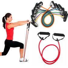 Resistance Band Pilates Tube Workout Gym Yoga Fitness Stretch Exercise Rope BK