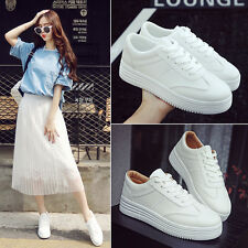 Women's Fashion Leather Casual Flat Pumps Lace Up Sneakers Trainer Shoes
