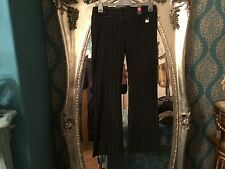 RIVER ISLAND SIZE 10RBLACK-SILVER PIN STRIPE Trousers new with taGs RRP £29.99