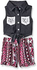 Limited Too Girls' Denim Sleeveless Top and Patterned Short Romper MSRP $32.00