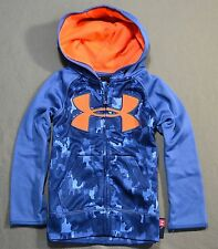 NWT BOYS YOUTH UNDER ARMOUR BLUE CAMO FULL ZIP HOODIE JACKET COAT SZ 4T