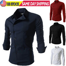 Man Fashion Casual Shirts Slim Fit Long Sleeve Stylish Dress Shirt Tops