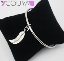 Silver Hollow Wire Bangles Bracelets Feather Pendants Charms DIY Fashion Jewelry