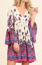 NWT Umgee Anthropologie Hot Pink Bell Sleeve Boho Paisley Print Dress SZ S or L