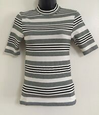 NEW Ex TOPSHOP: Stripe Monochrome High Neck Tee Shirt Blouse Top Size 4-12