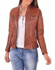 New Vintage Women Slim Fit Biker Motorcycle Soft Leather Zipper Jacket Coat