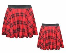 Ladies Women Circular Tartan Mini Skater Skirt With Elasticated Waistband--Red