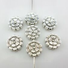 16/130pcs Tibetan Silver Charms Oblate Flower Spacer Beads Jewelry Findings