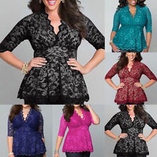 Plus Size Lace Shirt Scalloped T-shirt Top Blouse Swing Blouse Casual Wear Tops
