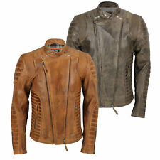Mens Real Soft Leather Quilted Panel Retro Designer Style Biker Jacket Tan Brown