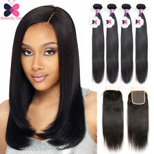 Brazilian Human Hair With Closure 4 Bundles Remy Virgin Hair Weave Extensions