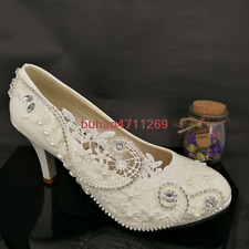"Wedding shoes 3""/4"" white lace crystal pearl Bridal shoes heels pumps size 4.5-9"