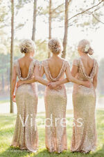 Shiny Sequins Evening Dresses Wedding Formal Bridesmaids Gowns Full Length Hot