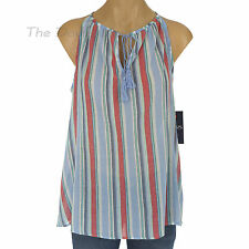 CHAPS by Ralph Lauren HALTER Multi-Color STRIPE TOP Drawstring Tassels KEYHOLE