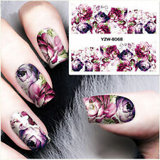 Nail Art Water Decals Stickers Transfers Deep Purple Flowers