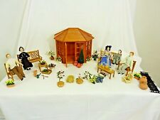 DOLLS HOUSE 1/12 SCALE GARDEN SET, CHARACTERS,  WITH ACCESSORIES            #CR#