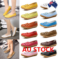 Women Leather Comfortl Loafers Moccasin Shoes Rubber Casual Soft Sole Flat Shoes