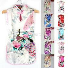 Kids Girls Retro Vintage Chinese Qipao Floral Peacock Cheongsam Dress Clothes
