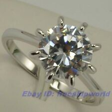 Size 5.5,6,7,8,9 Ring REAL POSH 2.5Ct ROUND WHITE GEMSTONE 18K WHITE GOLD GP
