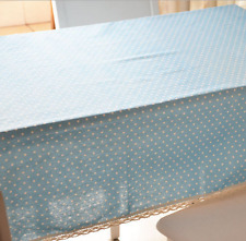 Blue  White Dots Bar Coffee Table Cotton Linen Cloth Cover oUSr