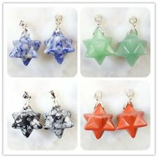 2Pcs Natural Mixed Stone Carved Star Pendant Bead Choose your like L789
