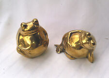 Set Of 2 Fat Brass Frogs Figurines Paperweights