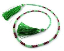 "1 Strand Natural Emerald,Ruby Rondelle 2-5mm 40Cts 15"" Long Smooth Gemstone Bead"
