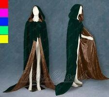 Lined Brown Velvet Green Cosplay Cloak Cape Wedding Wicca SCA LOTR LARP Goth