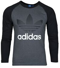 SALE ADIDAS ORIGINALS CLASSIC TREFOIL MENS CREW NECK LONG SLEEVE T-SHIRT RAGLAN