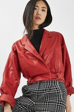 TOPSHOP *Real Leather* Red Cropped Jacket_SIZE_UK6_8_10_12_14_16