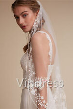 White Ivory Fingertip Length Wedding Veils Lace Leaves Bridal Veils Free Comb