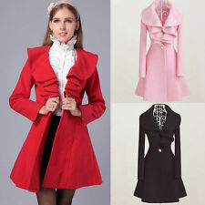 New Women Fashion Wool Blend Jacket Slim Fit Long Trench Coat Parka Overcoat