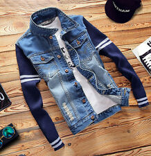 2017 Mens VINTAGE Retro Denim Outwear Navy Blue Long Sleeve Classc Jeans Jacket