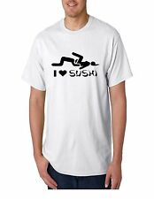 I Love Sushi Adult Dirty Funny Bachelor Party Humor Black Cotton T-Shirt Tee