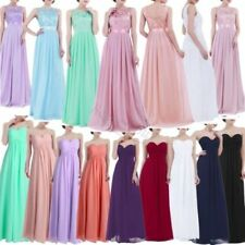 Ladies Long Formal Prom Maxi Dress Evening Ball Gown Bridesmaid Party Size 4-16