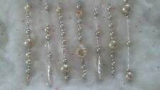 VTG Mercury Glass Bead Garland Xmas Icicle  Tree Ornaments-SILVER SET #3-LONG