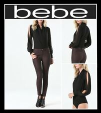 bebe SILK LONG SLEEVE WRAP BODYSUIT BLOUSE SHIRT SEXY TOP BLACK (NEW) MSRP $89